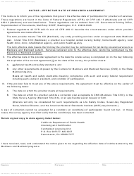 Form HS 328 Notice - Effective Date of Provider Agreement - California