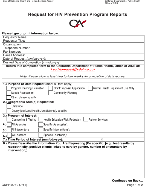 Form CDPH8719  Printable Pdf