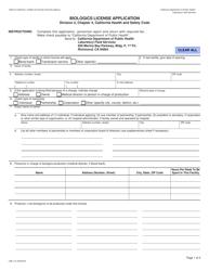 Form LAB 114 Biologics License Application - California