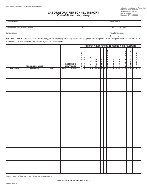 Form LAB116 OS  Printable Pdf