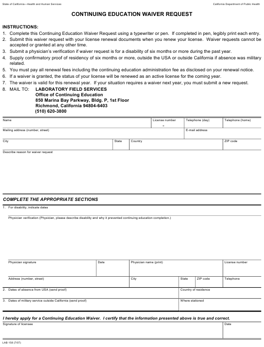 Form LAB 158 Fillable Pdf
