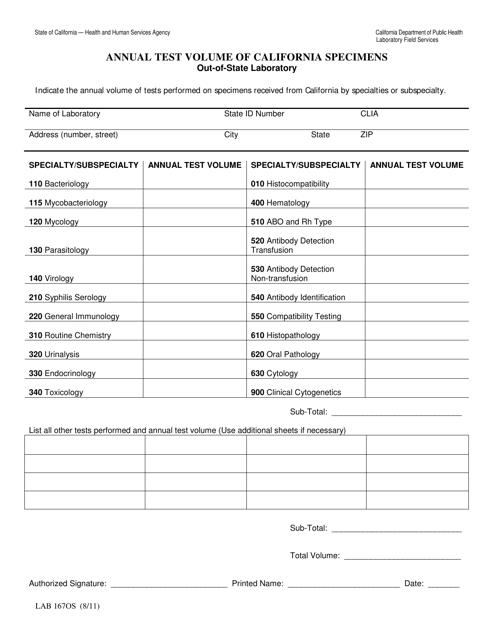 Form LAB167OS  Printable Pdf