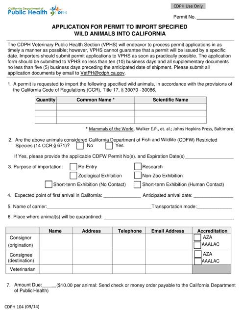 Form CDPH 104 Fillable Pdf