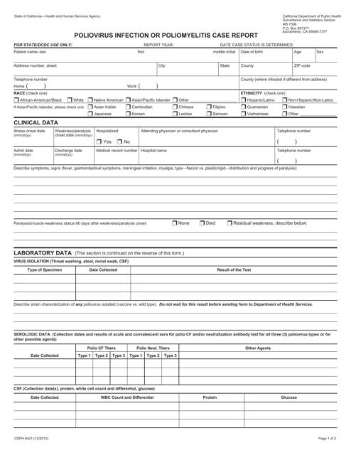 Form CDPH8421  Printable Pdf