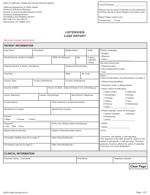 Form CDPH8296  Printable Pdf