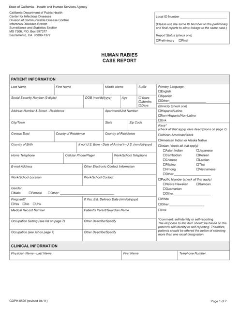 Form CDPH8526  Printable Pdf