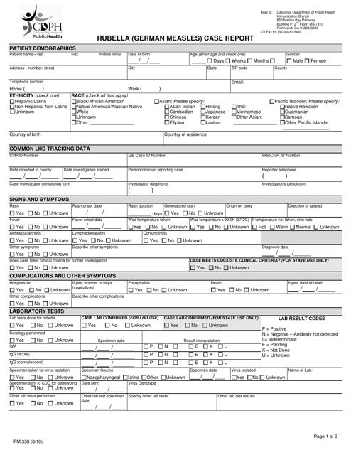 Form PM358  Printable Pdf