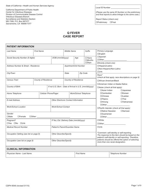 Form CDPH8548  Printable Pdf