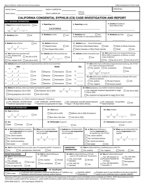 Form CDPH9049  Printable Pdf