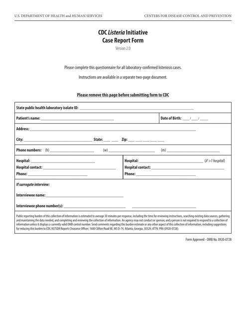 """CDC Listeria Initiative Case Report Form"" Download Pdf"