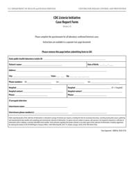 Cdc Listeria Initiative Case Report Form