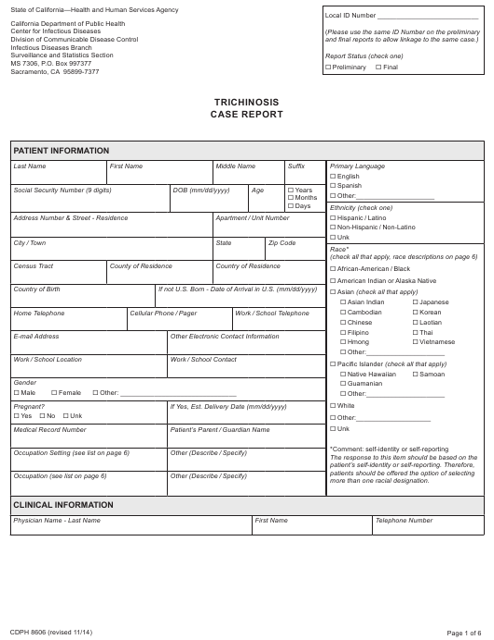 Form CDPH8606  Printable Pdf