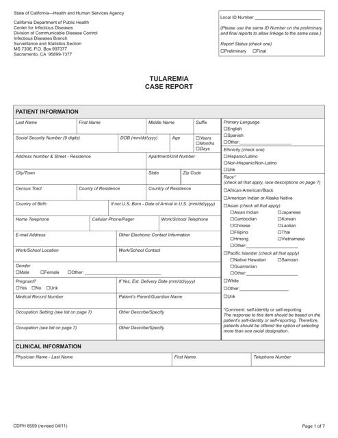 Form CDPH8559  Printable Pdf