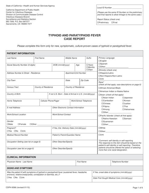 Form CDPH8586  Printable Pdf