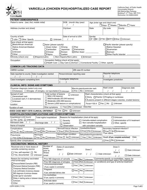 Form CDPH8299  Printable Pdf
