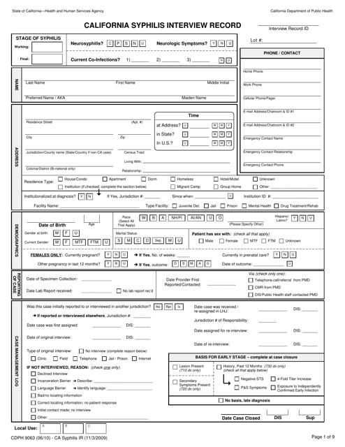 Form CDPH9063  Printable Pdf