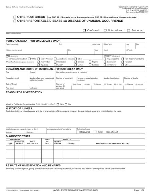 Form CDPH8554  Printable Pdf