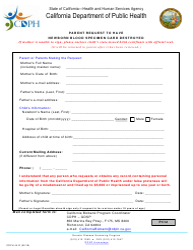 Form CDPH 4410 Parent Request to Have Newborn Blood Specimen Card Destroyed - California
