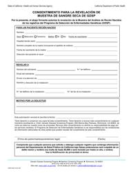 Form CDPH 4407 SP Consentimiento Para La Revelacion De Muestra De Sangre Seca De Gdsp - California