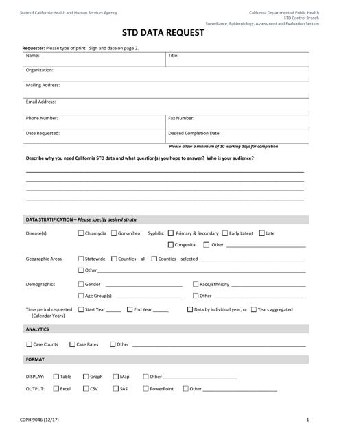 Form CDPH9046  Printable Pdf