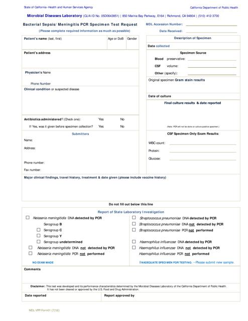 Form MDL-VPP-01  Printable Pdf