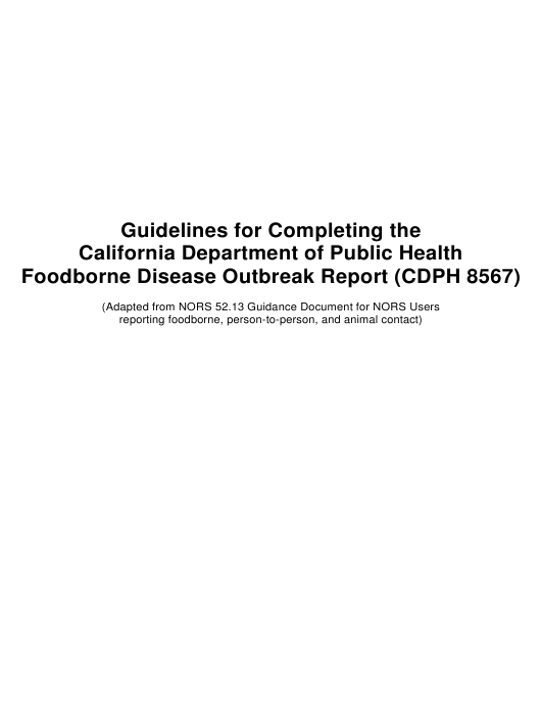Form CDPH8567  Printable Pdf