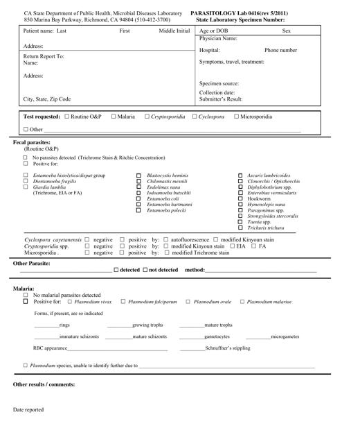 Form LAB0416  Printable Pdf