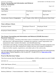 "Form DR397A ""Career Counseling and Information and Referral Form a - Verification"" - California"