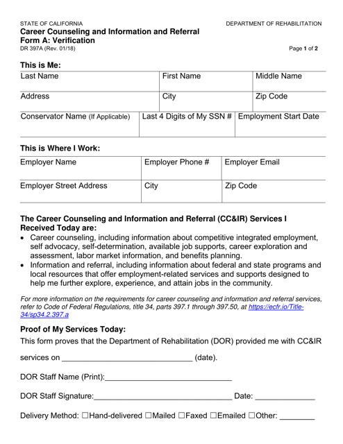 Form DR397A  Printable Pdf