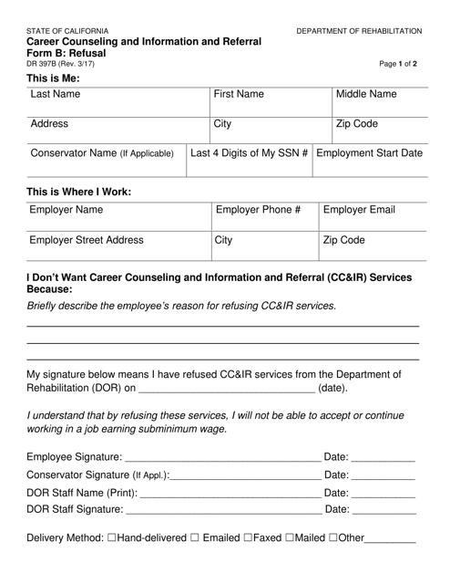 Form DR397B  Printable Pdf