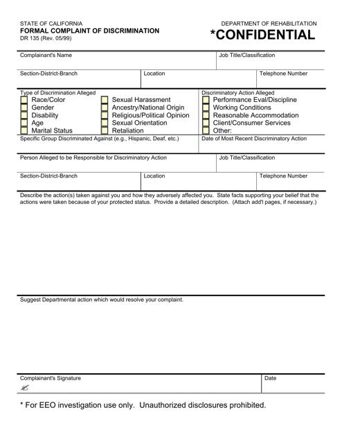 Form DR135  Printable Pdf
