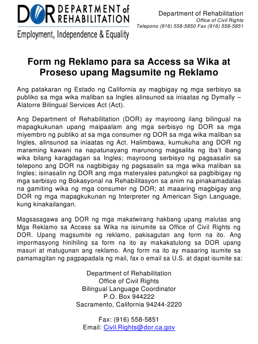 """Language Access Complaint Form"" - California (Tagalog) Download Pdf"