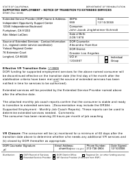"Sample Form DR387 ""Supported Employment - Notice of Transition to Extended Services"" - California"