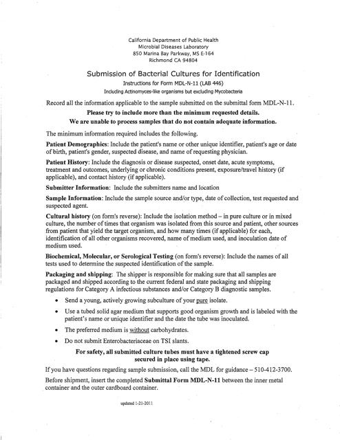 Form LAB446 (MDL-N-11)  Printable Pdf