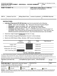 "Form DR385A ""Supported Employment - Individual - Invoice Summary"" - California"