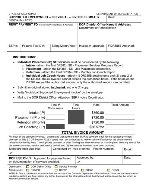 Form DR385A  Printable Pdf