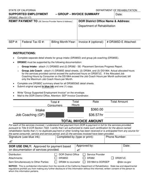 Form DR385C  Printable Pdf