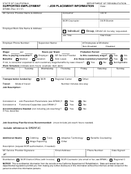 "Form DR383 ""Supported Employment (Se) - Job Placement Information"" - California"