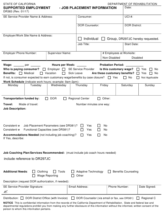 Form DR383  Printable Pdf