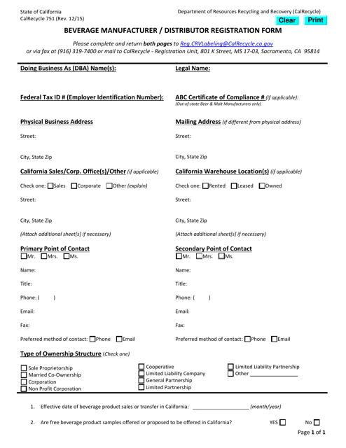 Form CalRecycle751  Printable Pdf