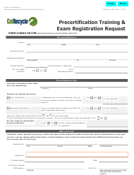 "Form CalRecycle907 ""Precertification Training and Exam Registration Request"" - California"
