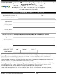 "Form CalRecycle757 ""Quality Incentive Payment Claim Form"" - California"