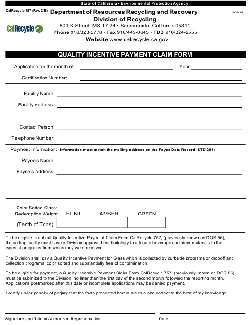 Form CalRecycle757  Printable Pdf