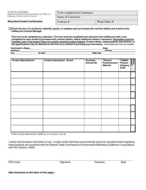 Form CalRecycle74C  Printable Pdf