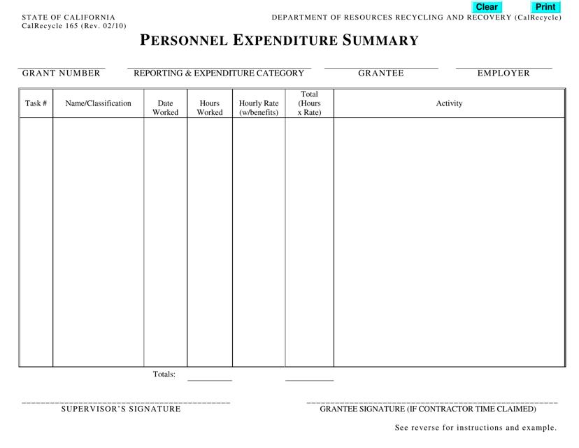 Form CalRecycle165  Printable Pdf