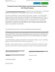 "Form CalRecycle741 ""Property Access Authorization and Non-responsibility Affidavit for Private Property"" - California"