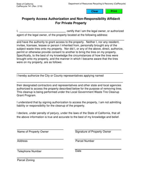 Form CalRecycle741  Printable Pdf