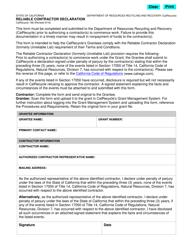 """Form CalRecycle168 """"Reliable Contractor Declaration"""" - California"""