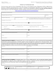 "Form CalRecycle184 ""Proof of Designation"" - California"