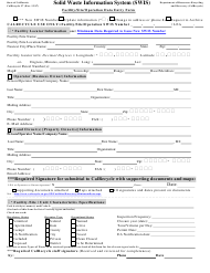 "Form CalRecycle37 ""Solid Waste Information System (Swis) Facility/Site Data Entry Form"" - California"